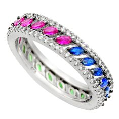 2.09cts green emerald (lab) ruby (lab) 925 sterling silver ring size 7 c9389