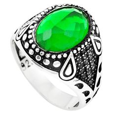Green emerald quartz topaz 925 sterling silver mens ring size 11 c11474