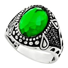 6.72cts green emerald (lab) topaz 925 sterling silver mens ring size 11 c9790