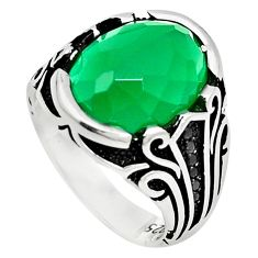 Green emerald quartz topaz 925 sterling silver mens ring size 9 c11471
