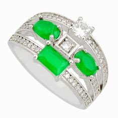 5.42cts green emerald (lab) topaz 925 sterling silver ring size 8.5 c9051