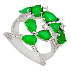 5.79cts green emerald (lab) topaz 925 sterling silver ring size 6.5 c9081