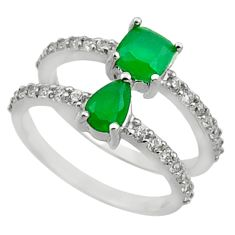 4.23cts green emerald (lab) topaz 925 sterling silver ring jewelry size 6 c10026