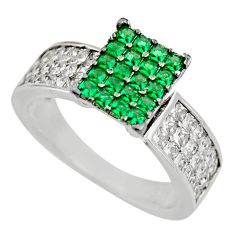 3.42cts green emerald (lab) topaz 925 sterling silver ring jewelry size 6 c9366