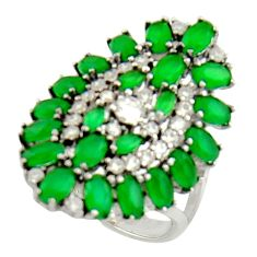 7.02cts green emerald (lab) topaz 925 sterling silver ring jewelry size 9 c9879