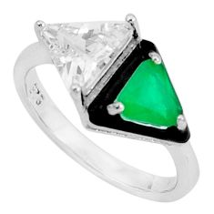 7.65cts green emerald (lab) topaz black enamel 925 silver ring size 8 c19353