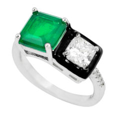 4.42cts green emerald (lab) topaz enamel 925 silver ring jewelry size 6 c23570