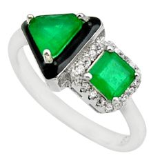 5.11cts green emerald (lab) topaz enamel 925 silver ring jewelry size 8 c10023