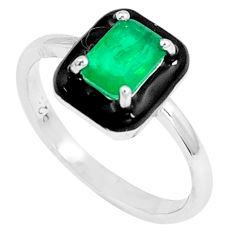 1.63cts green emerald (lab) topaz enamel 925 silver solitaire ring size 7 c20495