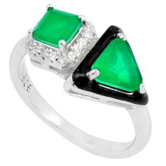 4.43cts green emerald (lab) topaz enamel 925 silver solitaire ring size 7 c23563
