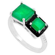 6.03cts green emerald (lab) topaz enamel 925 silver solitaire ring size 7 c23575
