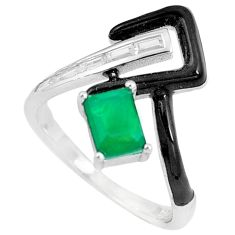 2.41cts green emerald (lab) topaz enamel 925 silver solitaire ring size 7 c23578