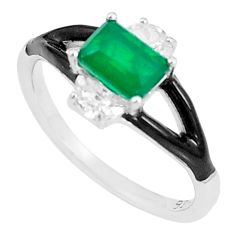 3.13cts green emerald (lab) topaz enamel 925 silver solitaire ring size 8 c23577