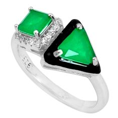 3.62cts green emerald (lab) topaz enamel 925 sterling silver ring size 7 c20039