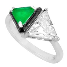 6.57cts green emerald (lab) topaz enamel 925 sterling silver ring size 8 c19305