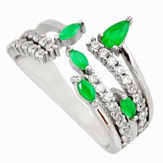 3.27cts green emerald (lab) white topaz 925 sterling silver ring size 8.5 c9169