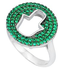 Green emerald quartz round 925 sterling silver ring jewelry size 8 c22937