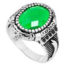 Green emerald quartz topaz 925 sterling silver mens ring size 8.5 c11551