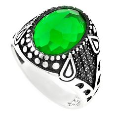Green emerald quartz topaz 925 sterling silver mens ring size 11 c11520