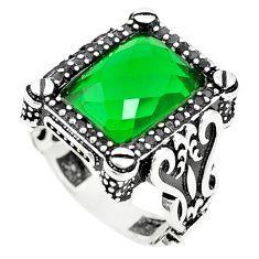 Green emerald quartz topaz 925 sterling silver mens ring size 9 c11357