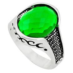 Green emerald quartz topaz 925 sterling silver mens ring size 9 c11459