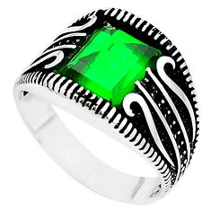 Green emerald quartz topaz 925 sterling silver mens ring size 9 c11514