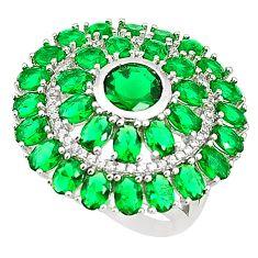 Green emerald quartz topaz 925 sterling silver ring size 7 c19150