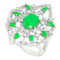 Green emerald quartz topaz 925 sterling silver ring size 7 c19188