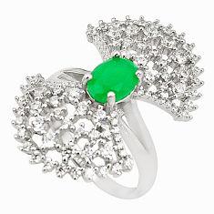 Green emerald quartz topaz 925 sterling silver ring size 9 c19221