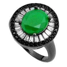 7.79cts green emerald quartz topaz rhodium 925 silver ring size 6 c19267