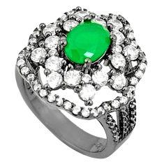 Green emerald quartz topaz rhodium 925 sterling silver ring size 7 c19208