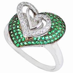 Green emerald quartz white topaz 925 sterling silver ring size 8 c23716