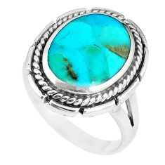 Green kingman turquoise enamel 925 sterling silver ring size 10 c10611