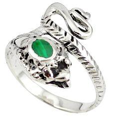 Green malachite (pilot's stone) 925 silver anaconda snake ring size 9 c11929
