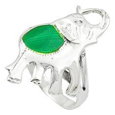 Green malachite (pilot's stone) 925 silver elephant ring size 5.5 c11861