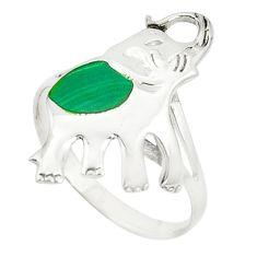 Green malachite (pilot's stone) 925 silver elephant ring size 7.5 c12220