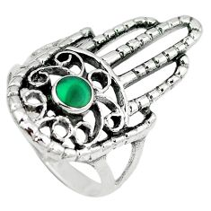 Green malachite (pilot's stone) 925 silver hand of god hamsa ring size 7 c12127
