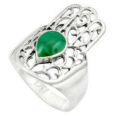 Green malachite (pilot's stone) 925 silver hand of god hamsa ring size 7 c12130