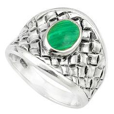 Green malachite (pilot's stone) 925 silver ring jewelry size 6.5 c12008