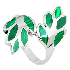 5.63gms green malachite (pilot's stone) 925 silver ring jewelry size 8.5 c12676