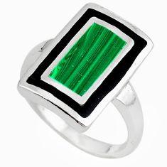 Green malachite (pilot's stone) 925 silver ring jewelry size 8.5 c12894