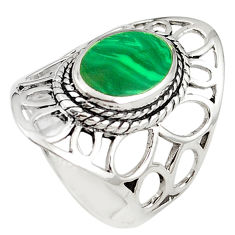 Green malachite (pilot's stone) 925 silver ring jewelry size 8 c12339