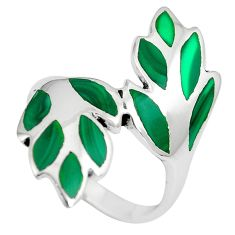 5.62gms green malachite (pilot's stone) 925 silver ring jewelry size 8 c12677