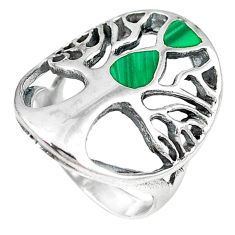 Green malachite (pilot's stone) 925 silver tree of life ring size 6.5 c11911