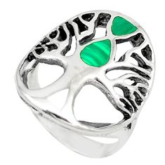 Green malachite (pilot's stone) 925 silver tree of life ring size 7 c21651