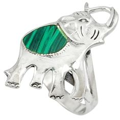 Green malachite (pilot's stone) 925 sterling silver elephant ring size 5 c12190