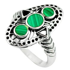 Green malachite (pilot's stone) 925 sterling silver ring size 8.5 c11959