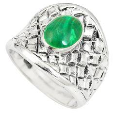 Green malachite (pilot's stone) 925 sterling silver ring size 5.5 c12177