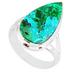 9.96cts green malachite in chrysocolla 925 silver solitaire ring size 8 r83543