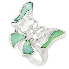 Green pearl enamel 925 sterling silver butterfly ring size 7.5 a75923 c13506